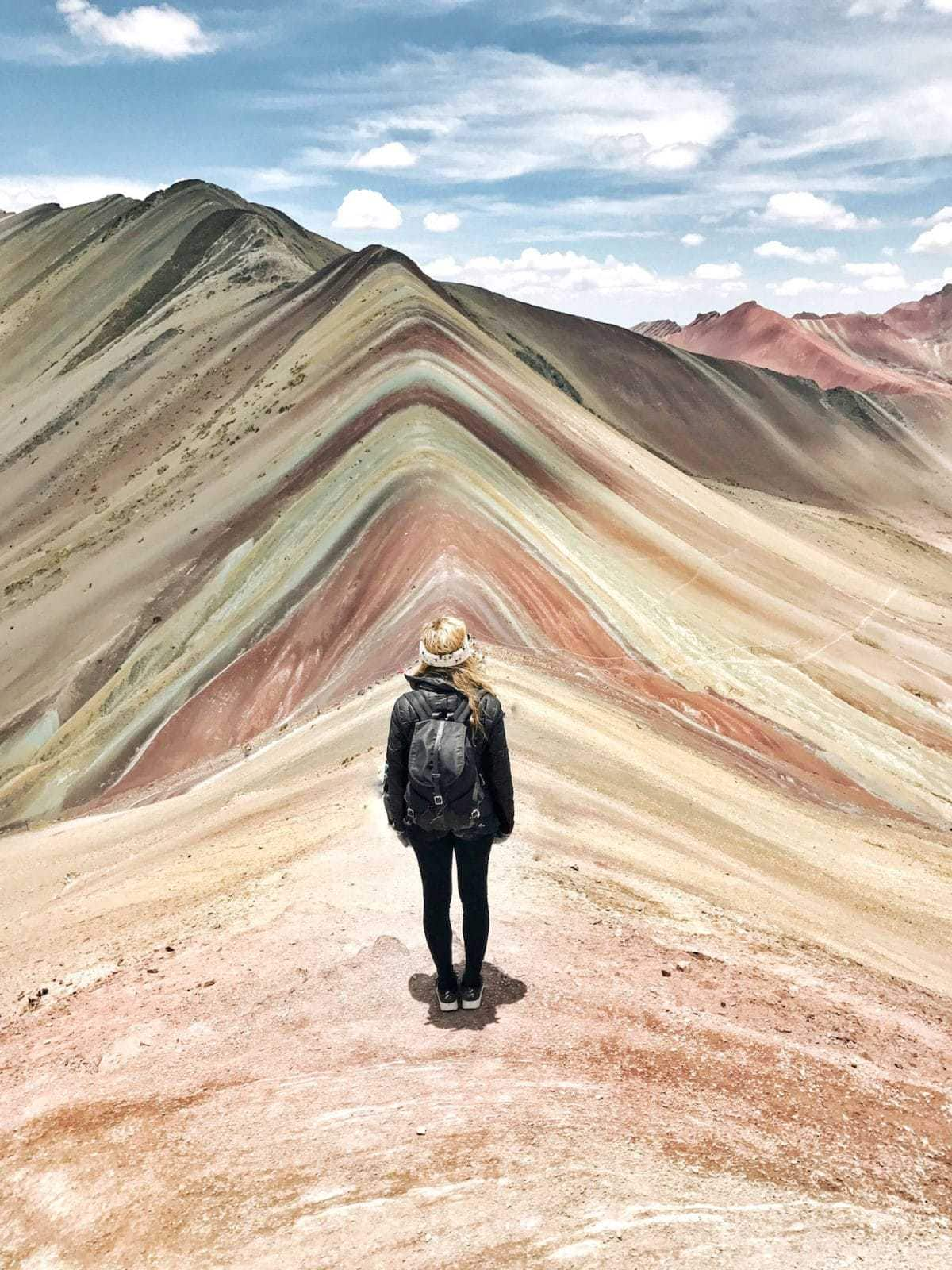 Michelle Halpern @livelikeitsthewknd at Rainbow Mountain, Peru