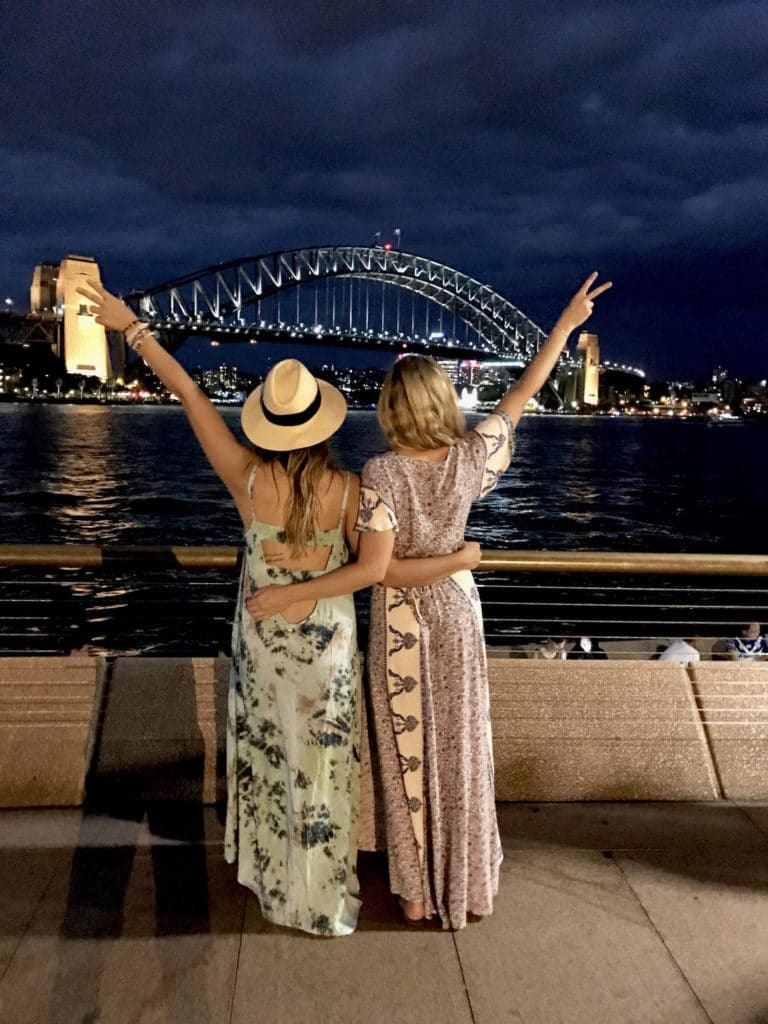 The Sydney, Australia skyline and Harbour Bridge at night.