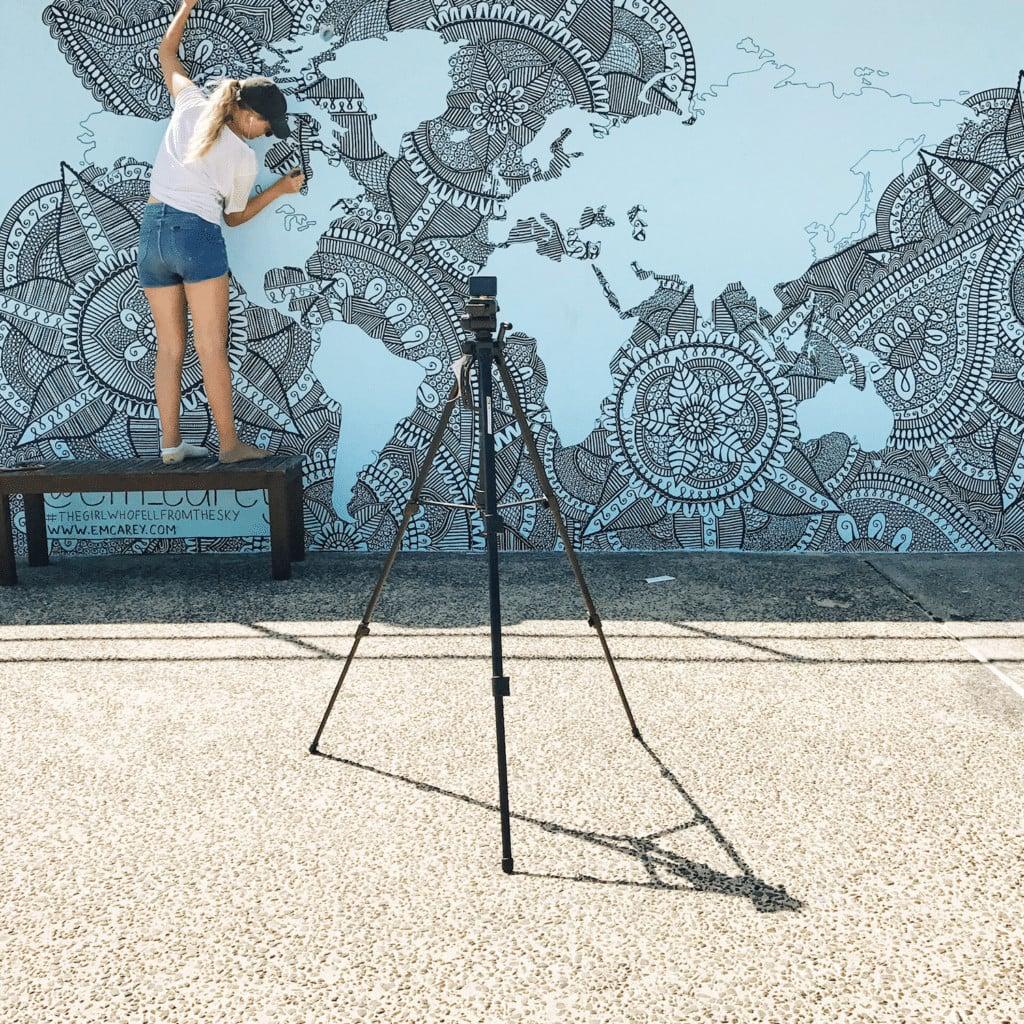 Street art along the boardwalk of Bondi Beach.
