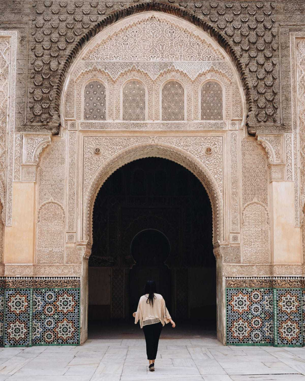 Jessica Wright of @bontraveler at Ben Youssef Madrasa, Morocco