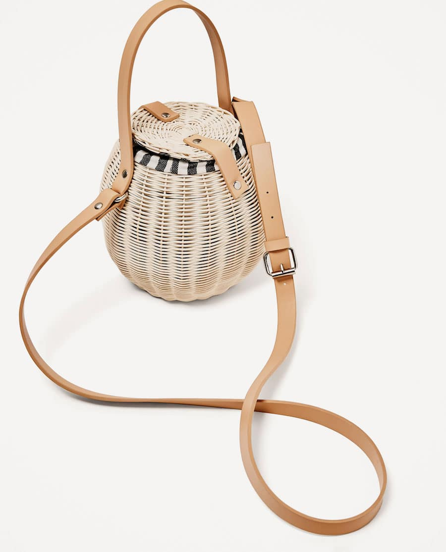 This wicker basket beach bag is both chic and fun for the summer