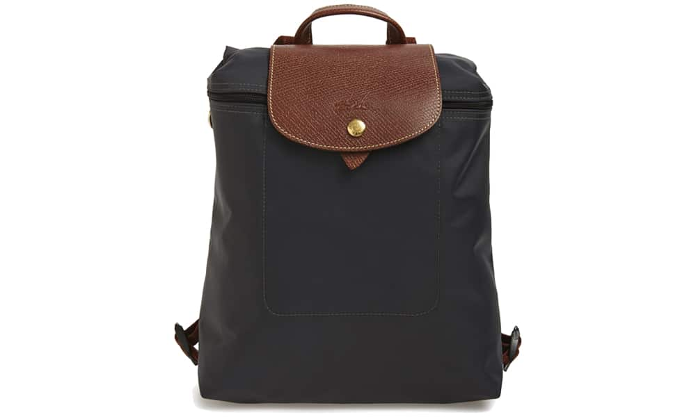 Longchamp's Le Pliage Backpack is a great daily bag while traveling