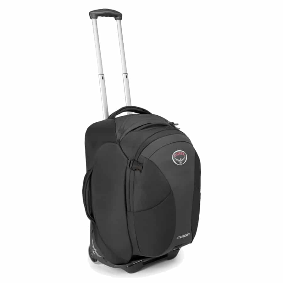 A carry on size convertible wheeled and backpack suitcase