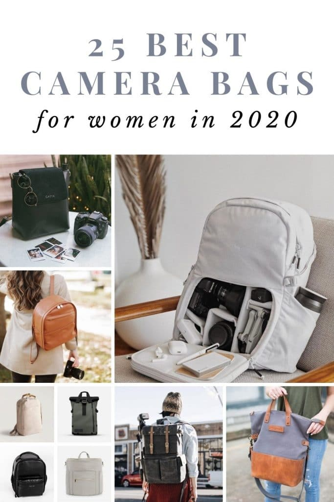 collage of different women's camera bags
