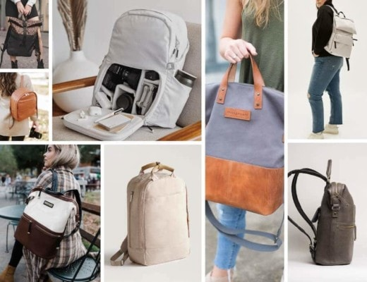 Collage of cute camera bags for women