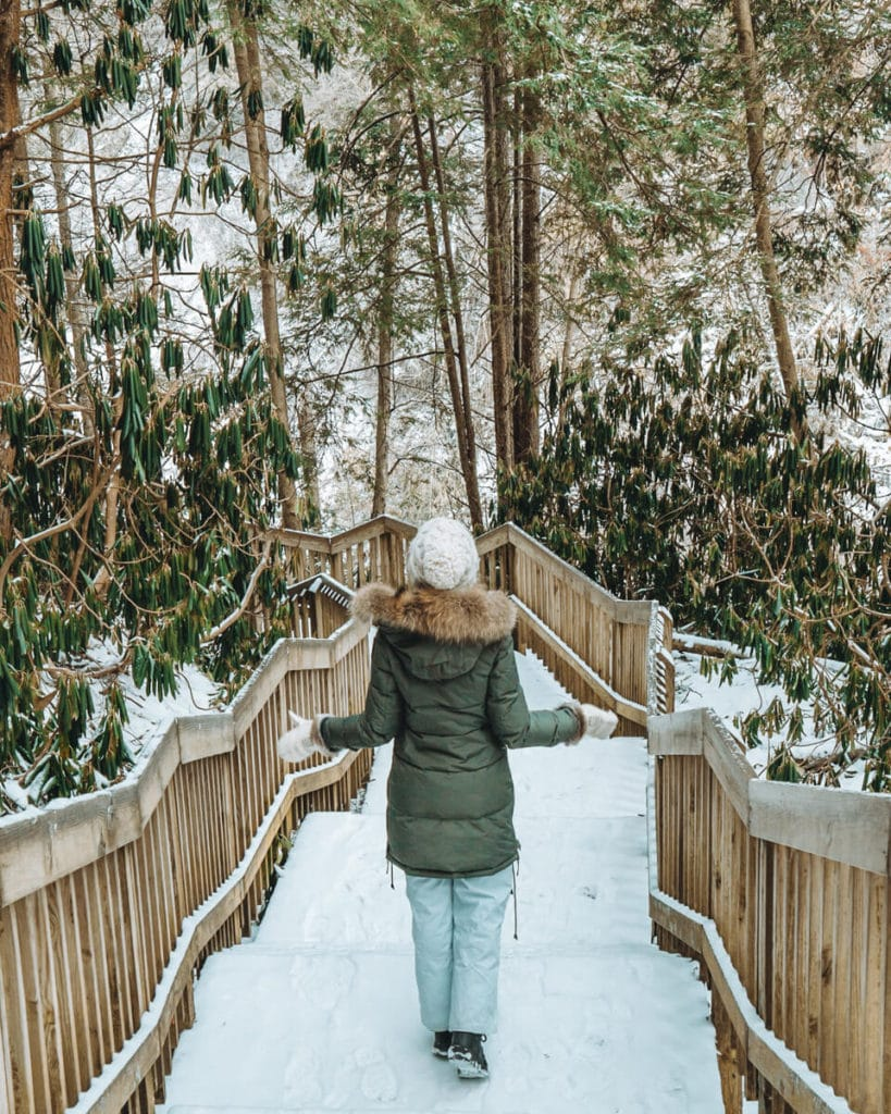 3 Awesome Ways to Experience West Virginia Winter in a Long Weekend West Virginia in winter | What to do in West Virginia | Travel tips West Virginia | Snowshoe Mountain | Blackwater Falls State Park | Greenbrier Resort | Greenbrier Hotel | Winter travel ideas | Winter travel destinations | USA winter ideas |