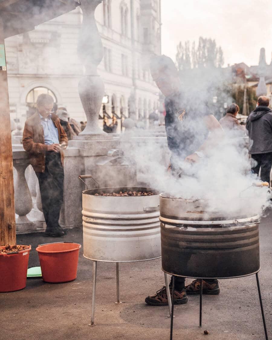 Ljubljana, Slovenia chestnuts roasting