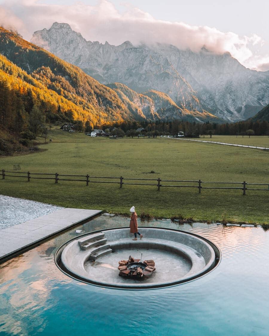 Hotel Plesnik pool in Logar Valley, Slovenia