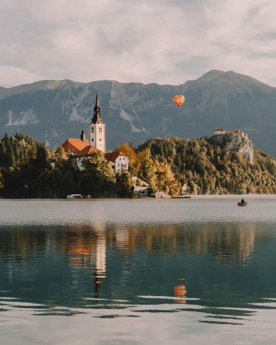 Hot air balloon in Lake Bled, Slovenia