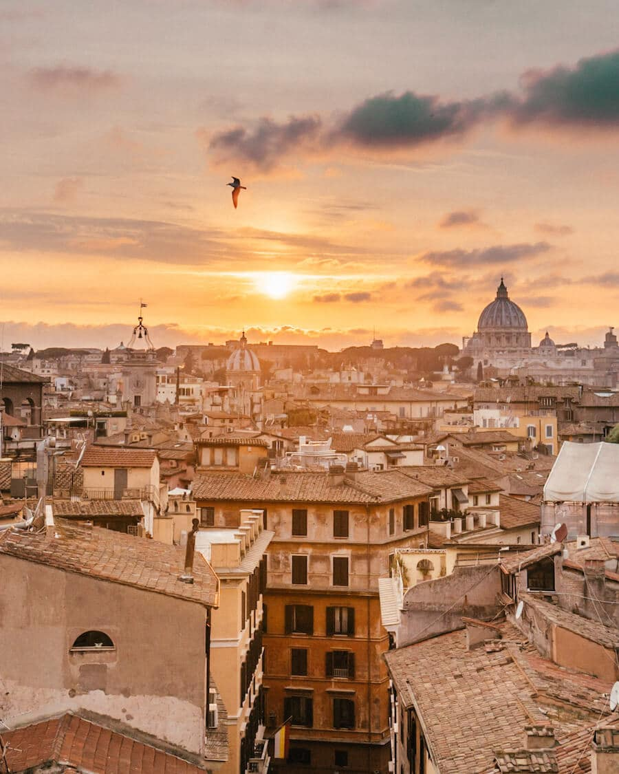 Rooftop sunset views in Rome, Italy