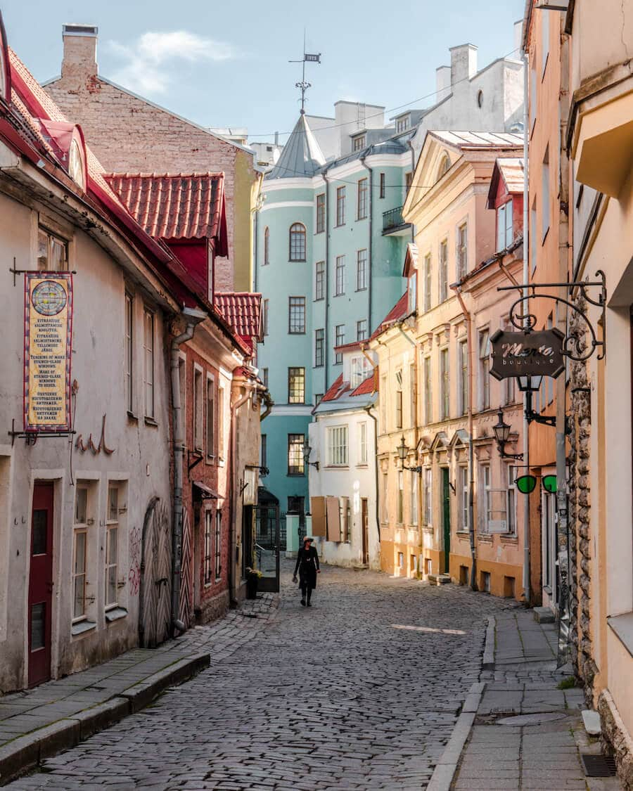 Colorful streets of Old Town Tallinn, Estonia