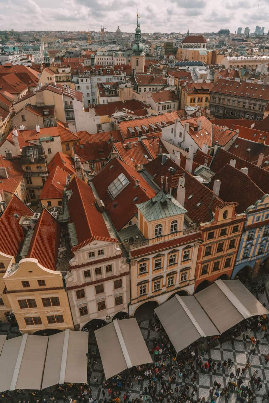 Views overlooking the red rooftops of Prague
