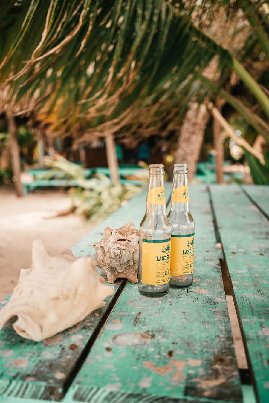 Beers on Ranguana Caye, Belize