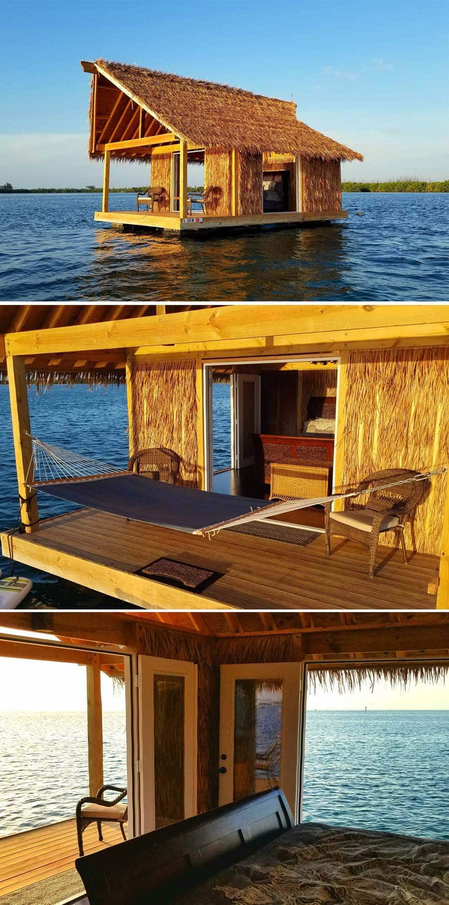Straw tiki airbnb on the water in Key West, Florida