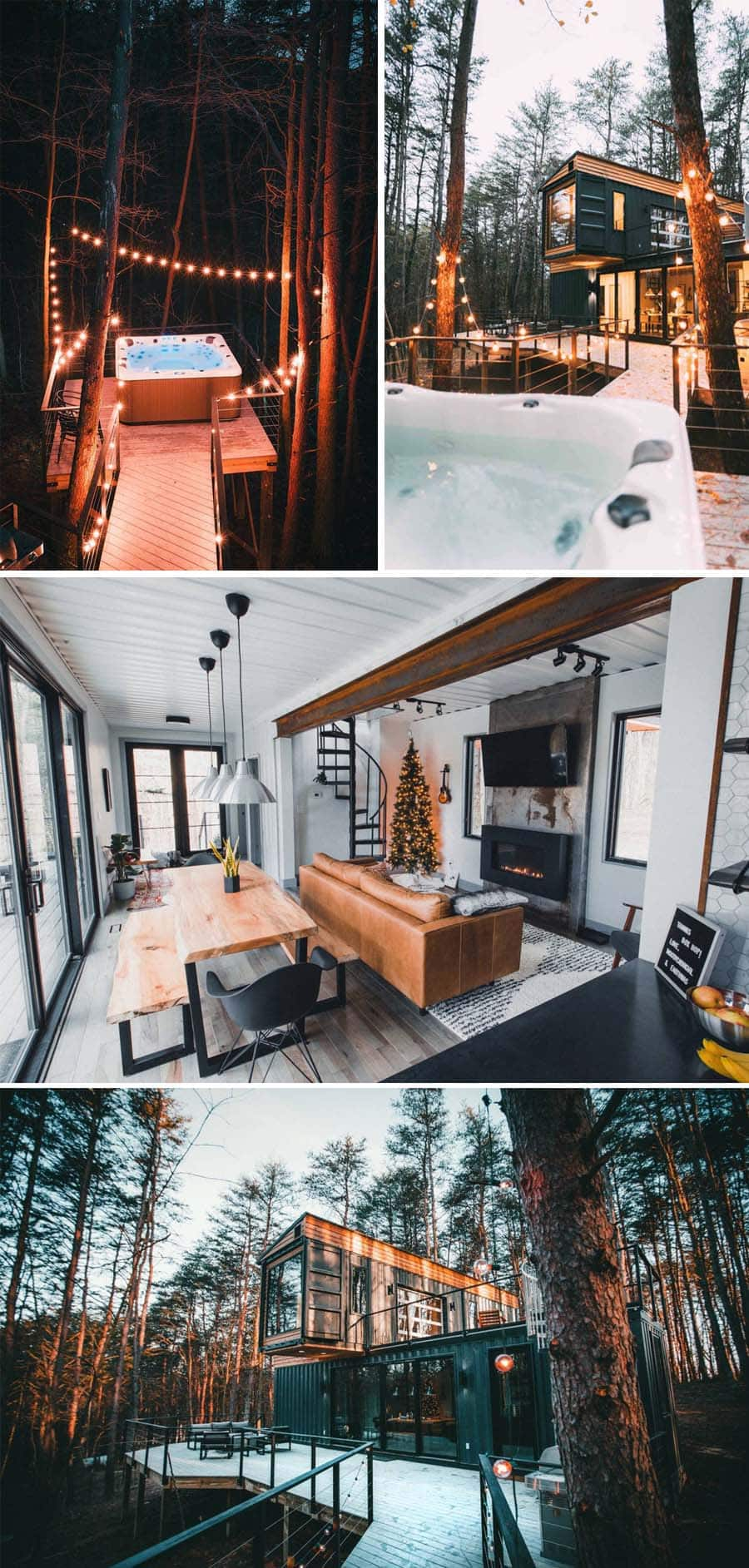 Ohio shipping container Airbnb home with string lights