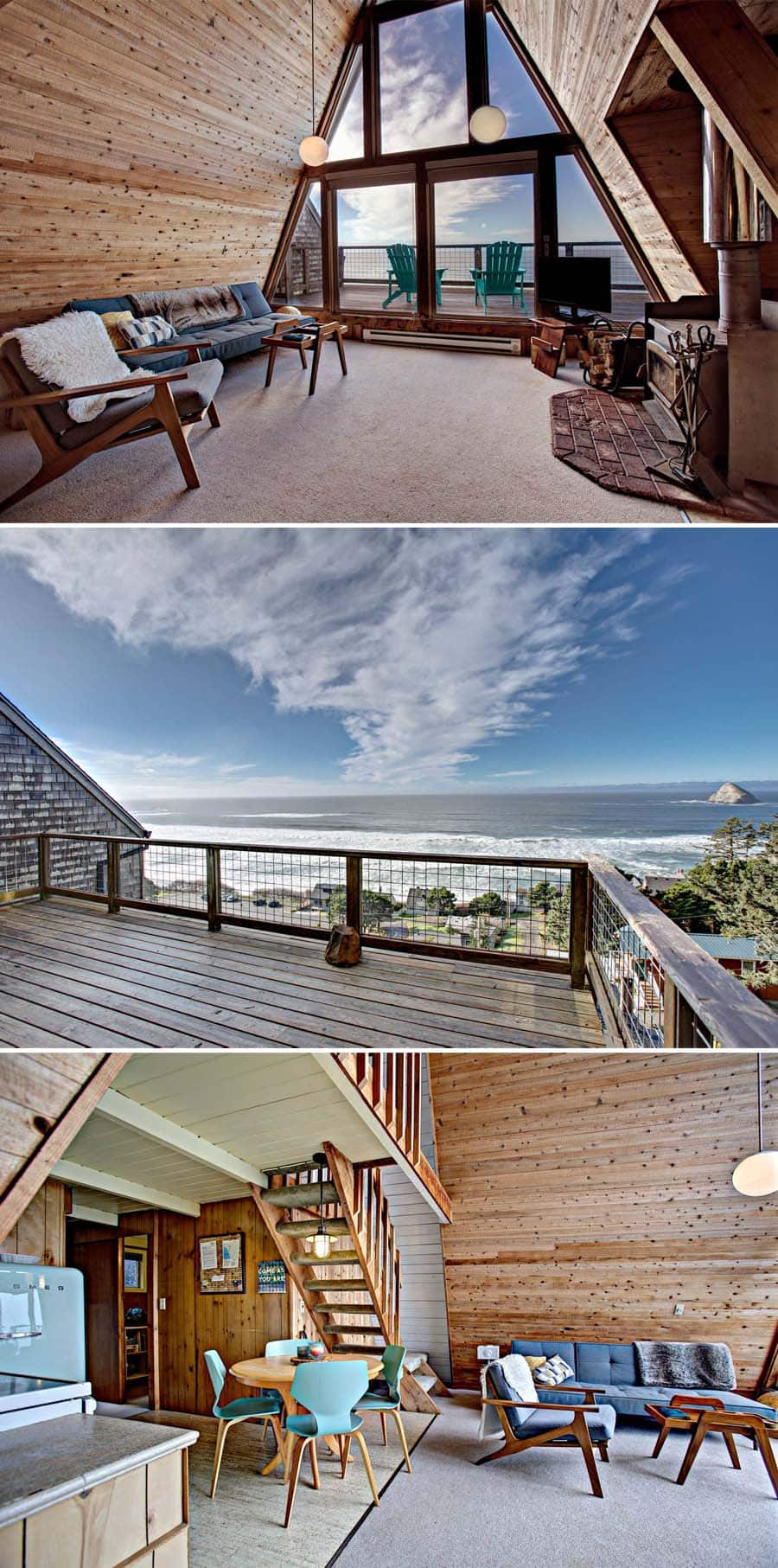 Oceanfront A-frame Airbnb home on the coast of Oregon