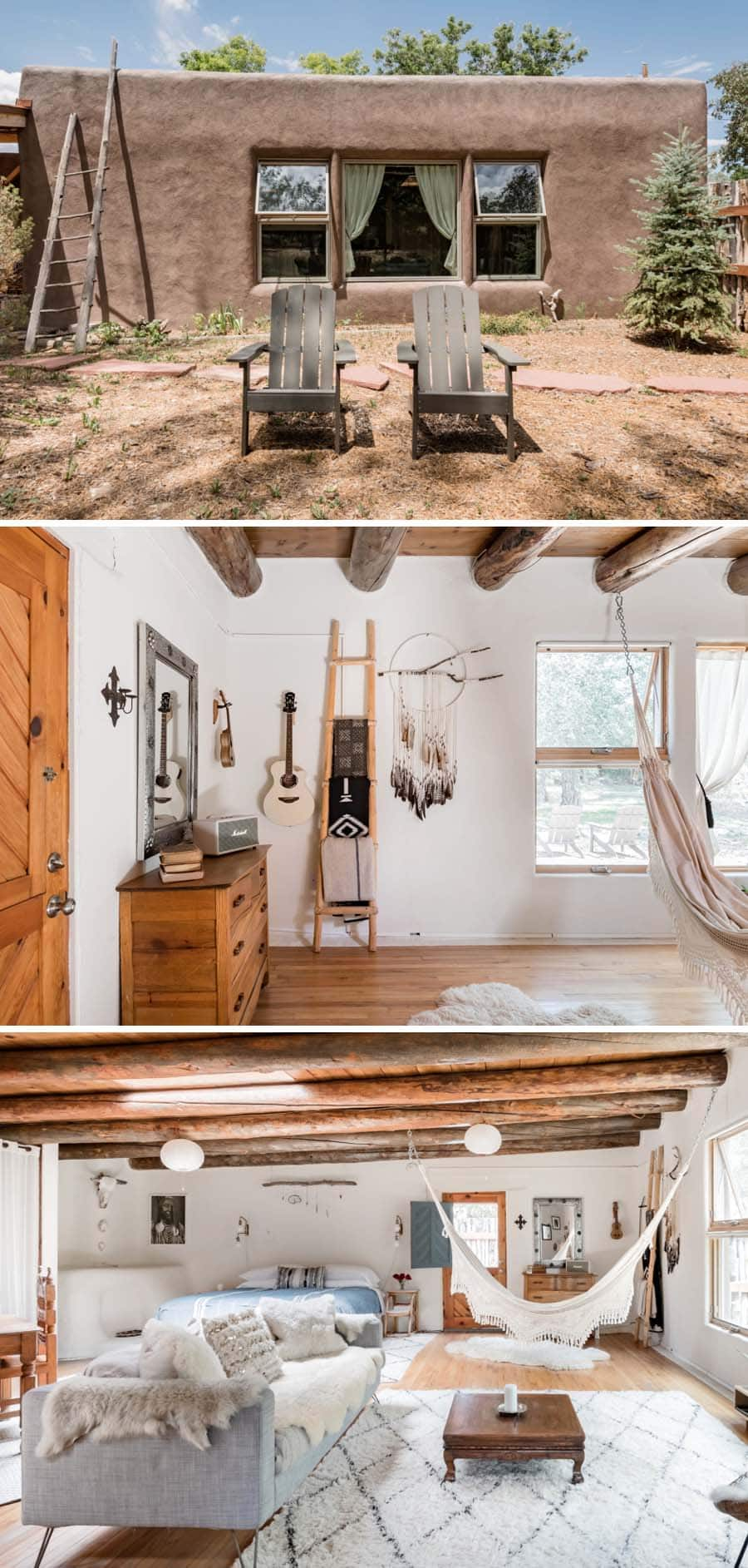 Bohemian style adobe Airbnb in Taos, New Mexico