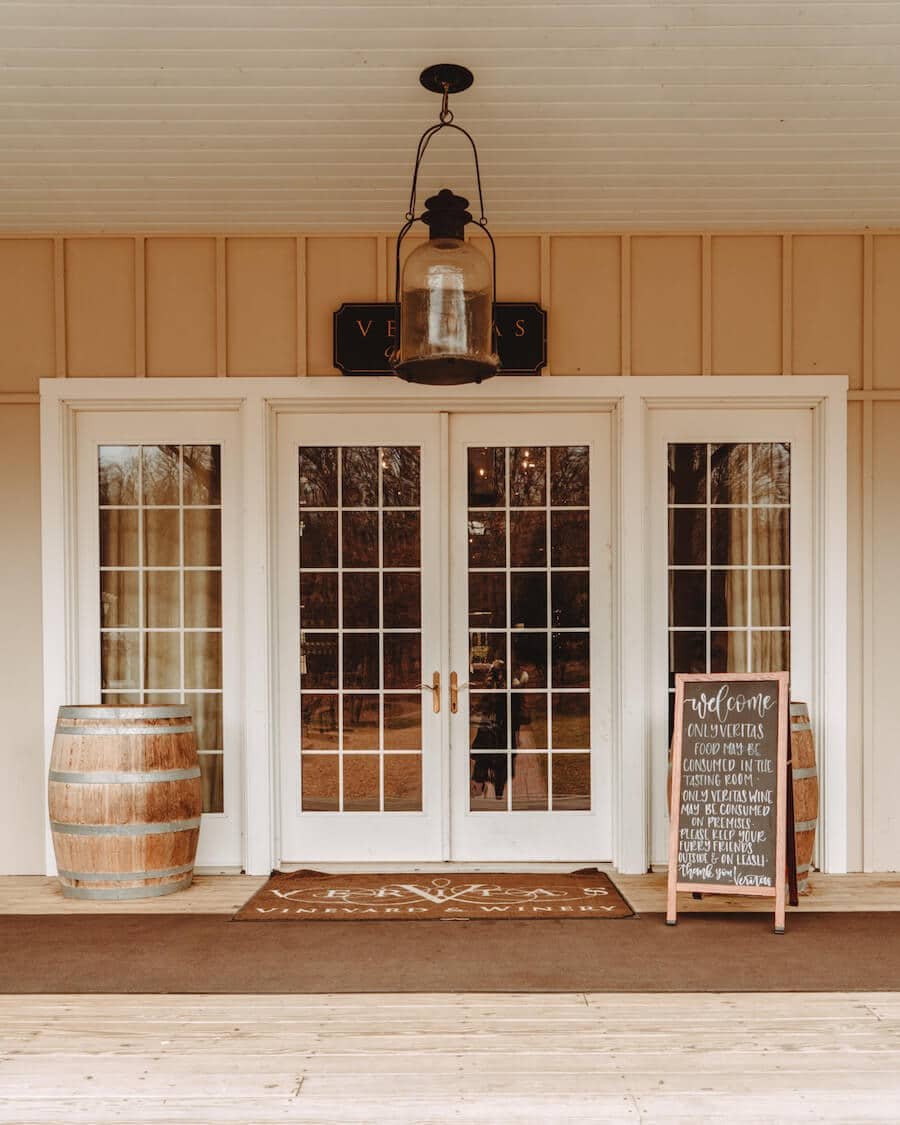 The entrance to Veritas Winery on the Monticello Wine Trail