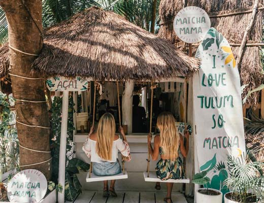 Matcha Mama swings in Tulum, Mexico