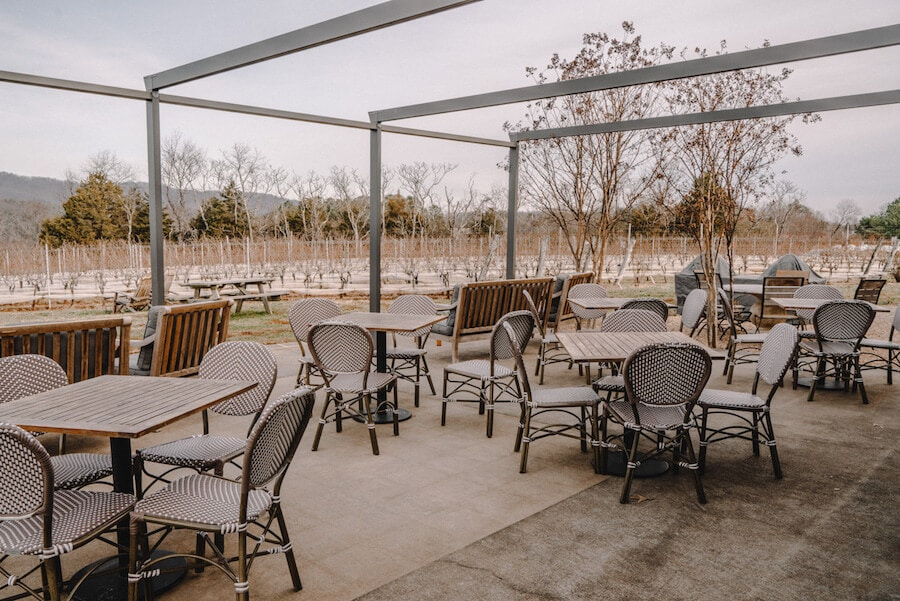 The outdoor patio at Stinson Vineyards