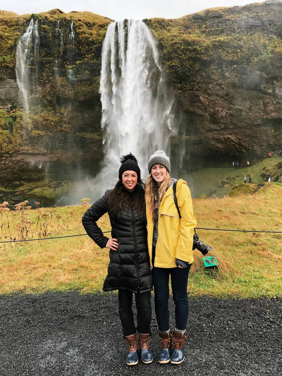 Exploring waterfalls on a girls trip in Iceland