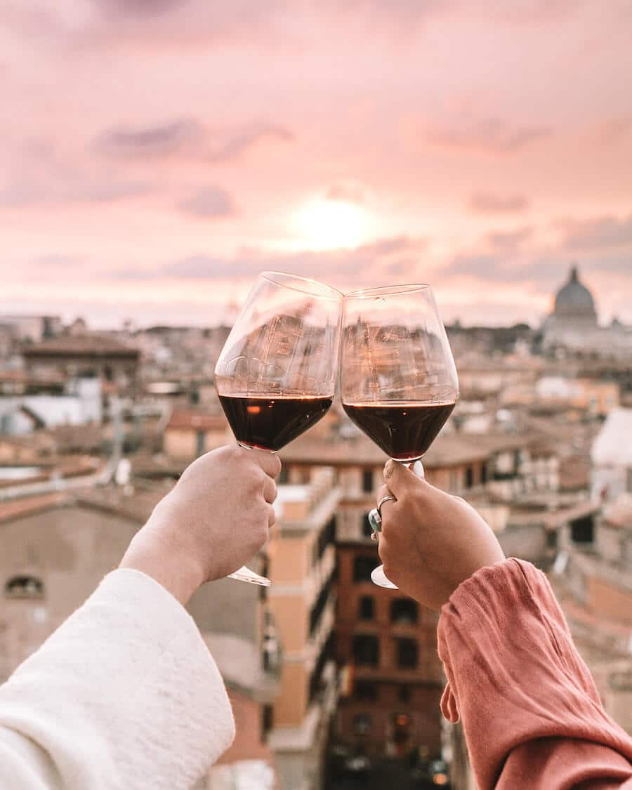 Rooftop wine views overlooking Rome, Italy