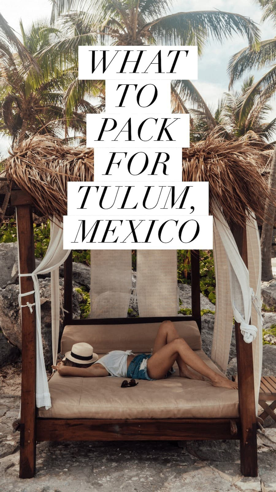 Tank top and denim shorts outfit in Tulum
