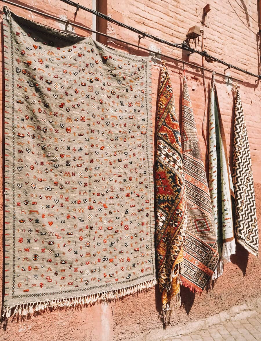 Hanging rugs in Marrakech, Morocco