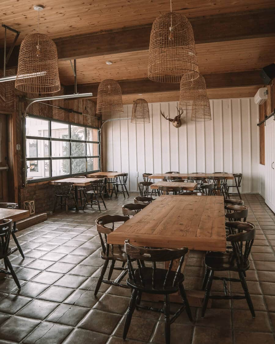 Dining space at the Cuyama Buckhorn with taxidermy on the walls