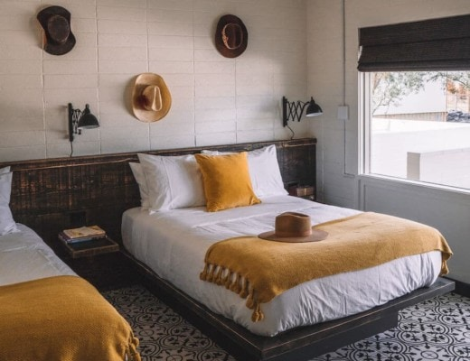 Interior of rooms at Cuyama Buckhorn with hats on the wall