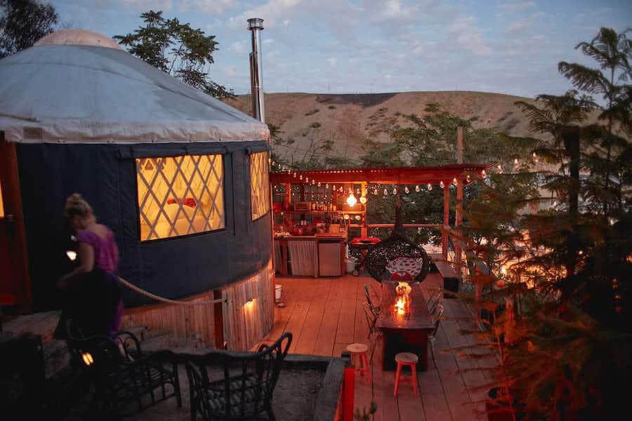 Yurt glamping in California