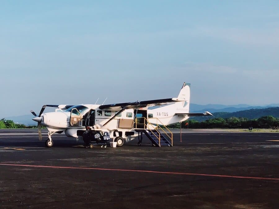 Small Aerotucan plane boarding in Puerto Escondido, Mexico