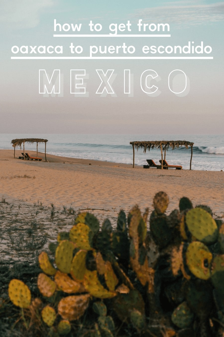 Beach in Puerto Escondido with two lounging huts and cactus in the foreground