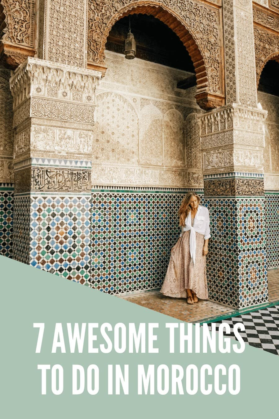 Girl standing amongst the gorgeous tile arches at the Al-Attarine Madrasa in Fes, Morocco