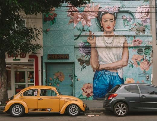 Frida Kahlo mural in Palermo Soho, Buenos Aires