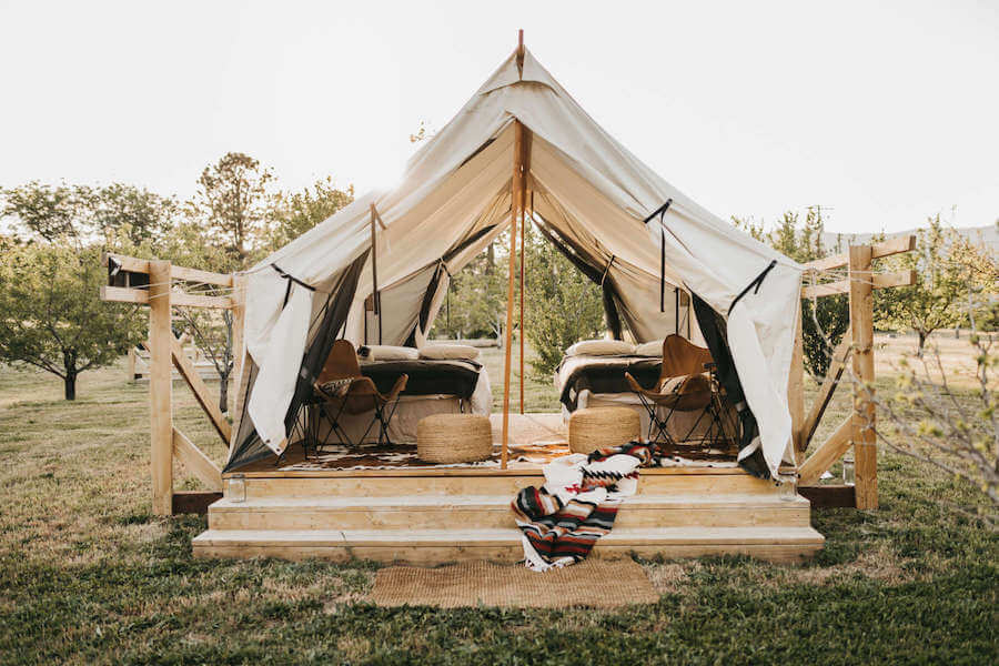 Beautifully decorate glamping tent