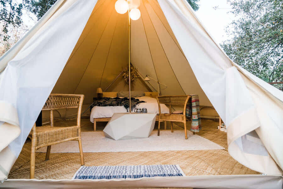 Glamping tent in California