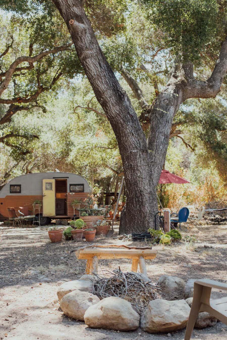 Retro camper accommodation in California
