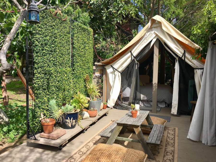 Urban glamping site outside of Los Angeles
