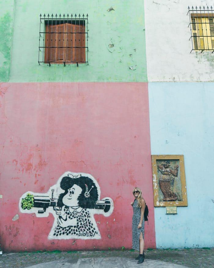 Cartoon street art in La Boca, Buenos Aires