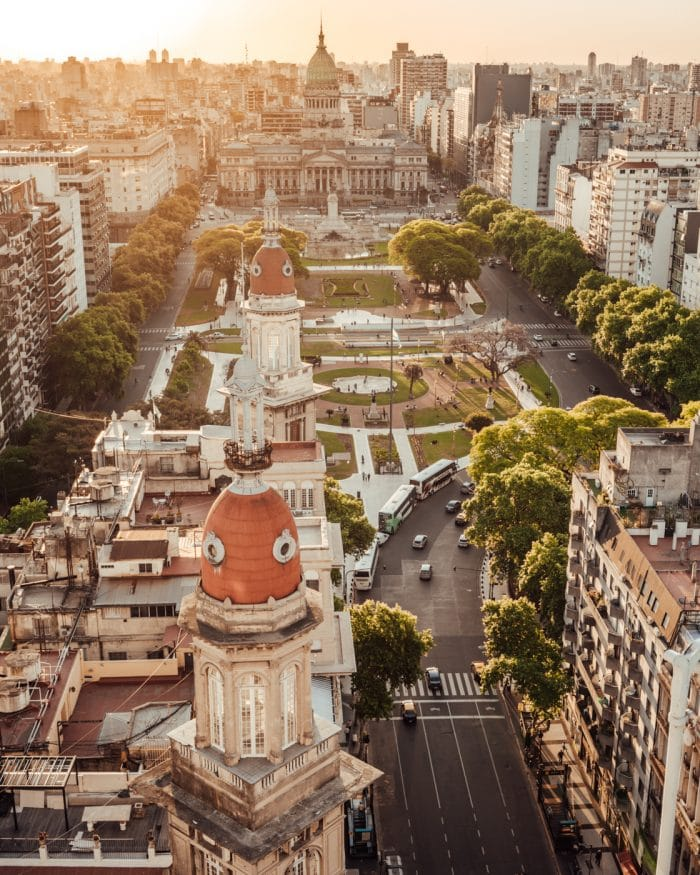 Aerial view overlooking the Plaza del Congreso in Buenos Aires