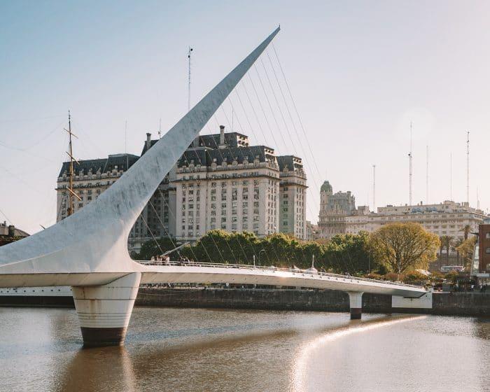 Puente de la Mujer bridge in Puerto Madero, Buenos Aires