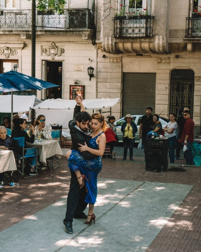 Tango dancers in San Telmo weekend market