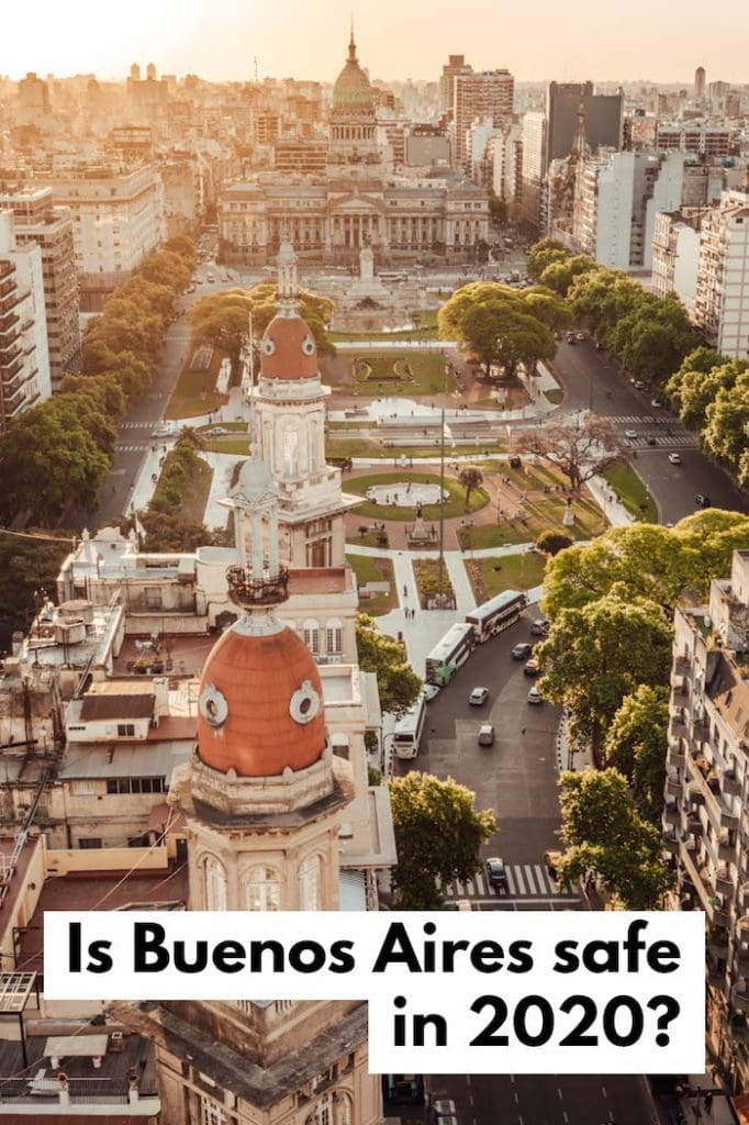 Aerial view overlooking the Plaza del Congreso in Buenos Aires with text overlay