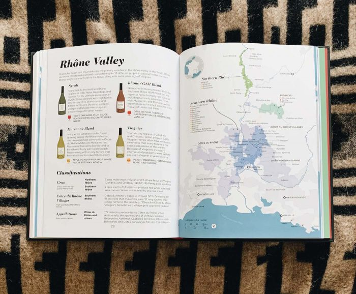 Open page of the book Wine Folly featuring information on the Rhone Valley