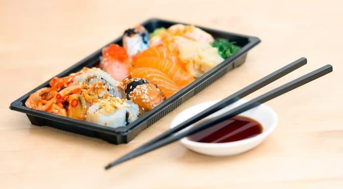 Sushi takeout box.