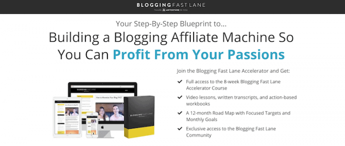 Banner promoting the Fast Lane Blogger course by Adventure in You