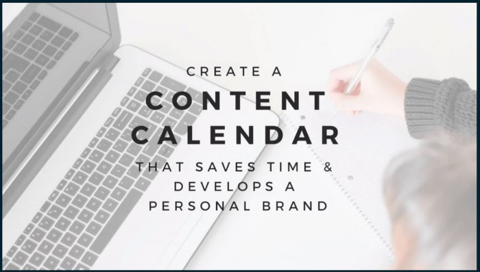 Image of laptop with text overlay: Create a content calendar