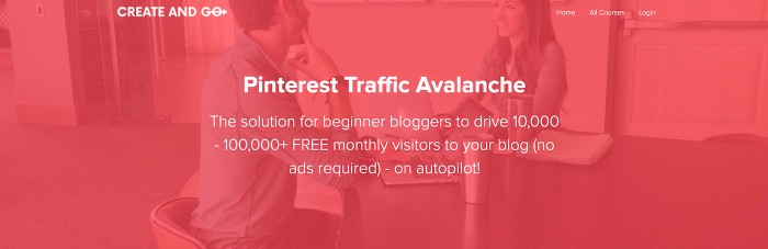 Red banner image with text overlay: Pinterest Traffic Avalanche