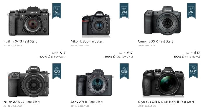 Image of different DSLR camera brands like Sony, Canon, Nikon and Olympus